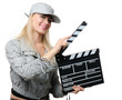 Young happy woman with cinema clapper board