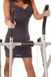 woman body gray dress walking machine