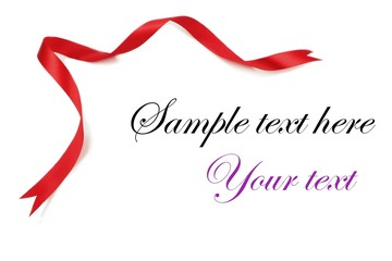 Red ribbon on white background.