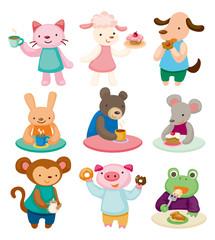 cartoon animal tea time set