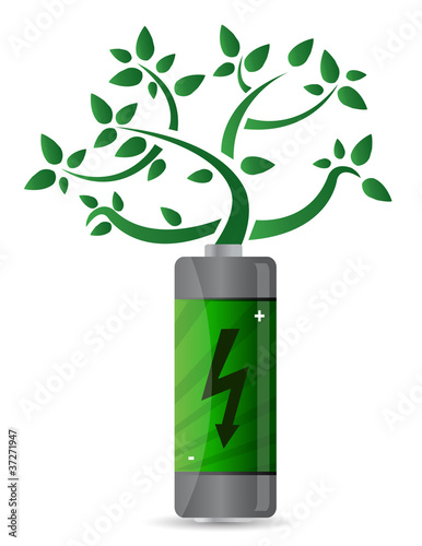 tree growing from the battery illustration design