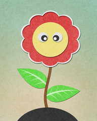Sunflower recycled paper craft