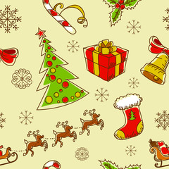 Seamless Christmas hand drawn pattern with sketch fir tree
