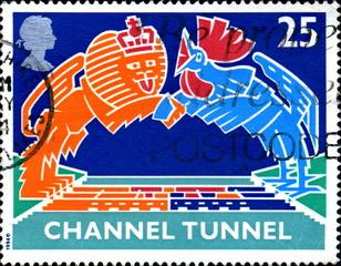 Channel Tunnel. Lion britannique et coq français. Timbre.