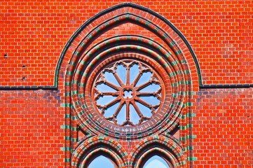 stained glass gothic window in church