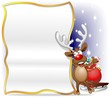 Renna Sfondo Auguri Cartolina-Reindeer Cartoon Poster Background