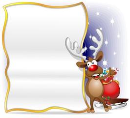 Renna Sfondo Auguri Cartolina-Reindeer Cartoon Poster Background