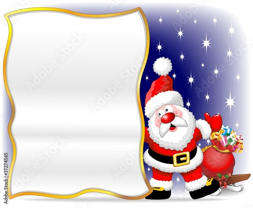 Babbo Natale Auguri-Santa Claus Cartoon Poster Background
