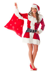 Female Santa with gift sack