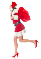 Female Santa running with gifts