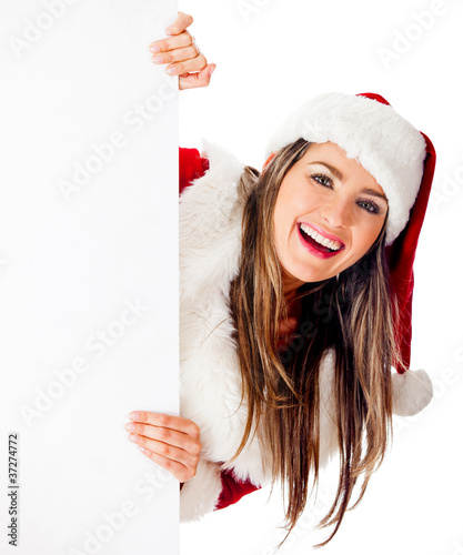 Mrs. Claus with a banner