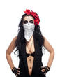 Serious woman in day of the dead mask hide face