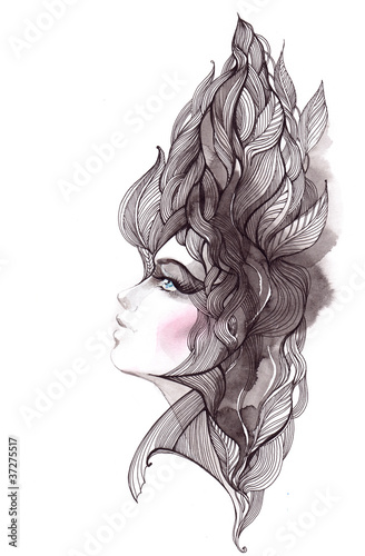 Aluminium Vrouw Gezicht her hair ornate with foliage