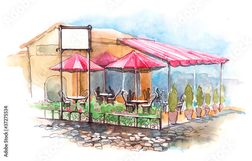 Foto op Plexiglas Drawn Street cafe cafe on terrace
