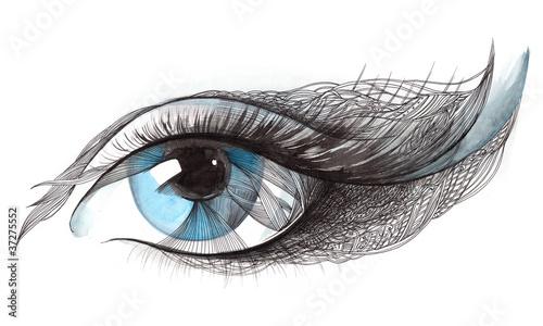 In de dag Vrouw Gezicht blue eye