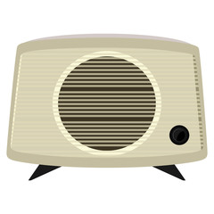 Vector illustration of an old radio  in a plastic case
