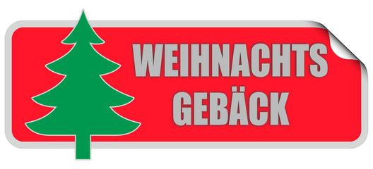 WB-Sticker rot eckig curl oben WEIHNACHTSGEBÄCK
