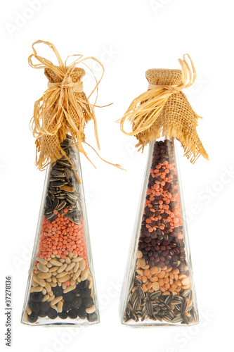 Bottles legumes and seeds