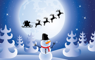 vector santa claus, trees and snowman