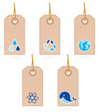 Collection of vector blank recycle and water labels isolated on