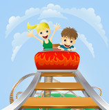Thrilling roller coaster ride poster