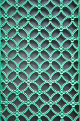 ornamental green door lattice