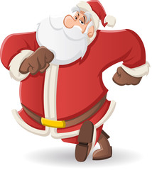 Santa Claus walking on white background