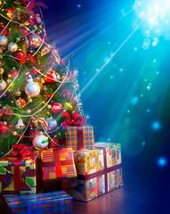 Christmas gifts near the Christmas tree