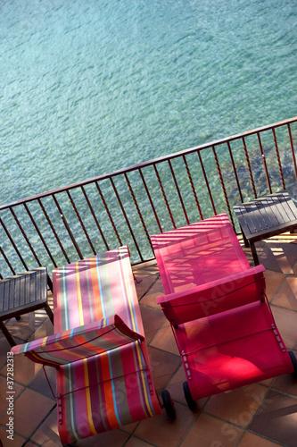 terrasse, mer, vacances, été, détente, chaise longue