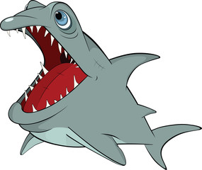Cheerful shark. Cartoon