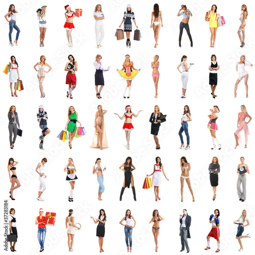 Many different girls isolated on white