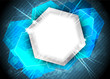 Abstract background with hexagon in blue color