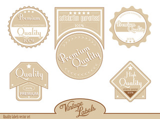 Brown premium, high quality labels | stickers in vintage style.