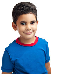Cute portrait of a small latin boy isolated on white