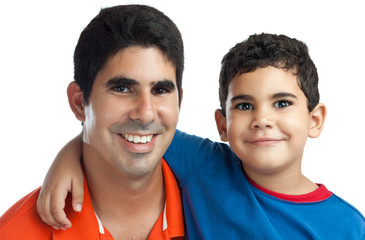 Portrait of a latin father with his  small son isolated on white