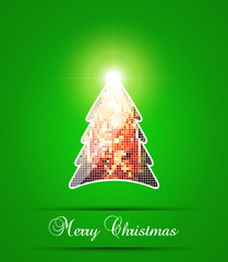 Mosaic Christmas tree with golden star. Vector illustration.