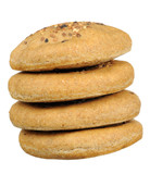 Stack of Flatbreads with Sesame Seeds on White Background