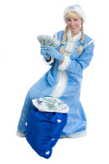 girl in christmas costume of Snegurochka with bag of money