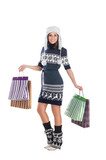 Young attractive girl in scandinavian clothes poster