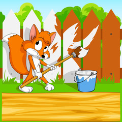 Little cartoon fox with paintbrush with background