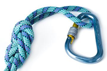 Schraubkarabiner mit Seil