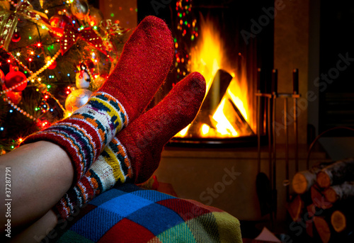 romantic winter evening by the fireplace Christmas