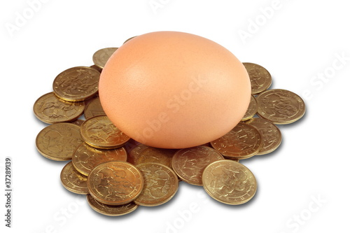 One egg and coins