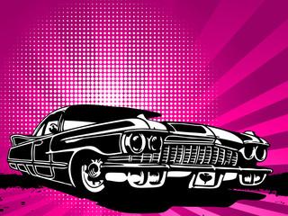 old vintage car on modern background