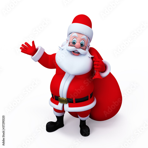 Santa Claus with gift pointing to blank space