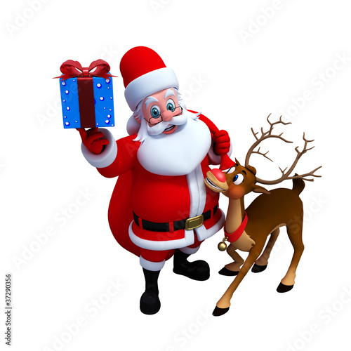 Santa claus with reindeer an gifts