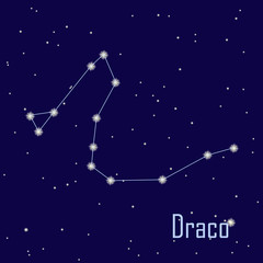 "The constellation ""Draco"" star in the night sky. Vector illustra"