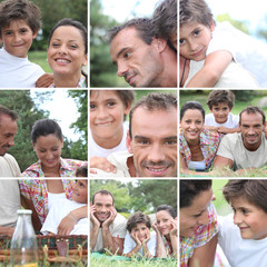 Collage of a family picnic