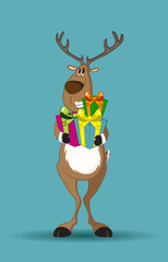 Reindeer holding gifts