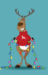 Reindeer in red jumper holding a line of light-bulbs